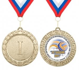 Медаль за 1,2,3 место - d70мм с лентой и вкладышем