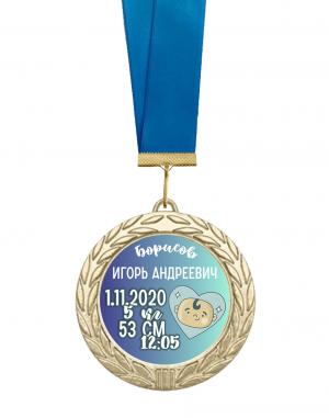 Медаль новорожденному именная с метрикой