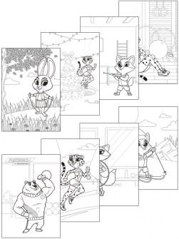 Раскраска с символикой ГТО. 8 страниц