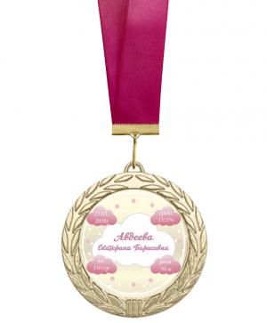 Медаль на рождение ребенка именная с метрикой