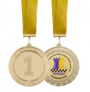Медаль шахматы с лентой и вкладышем