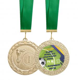 Медаль -  для награждения футболистов с лентой и вкладышем