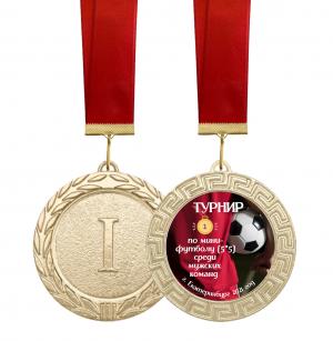 Медаль - Мини футбол (5*5) с лентой и вкладышем
