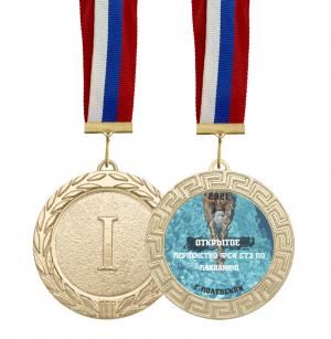 Медаль по плаванию 70мм с лентой и вкладышем