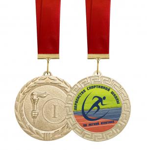 Медаль Первенство по легкой атлетике - 70мм с лентой и вкладышем
