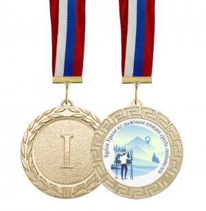 Медаль лыжные гонки среди любителей с лентой и вкладышем